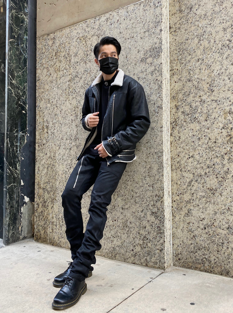 AKINGS Stacked Denim and Shearling jacket; Streetwear Fashion