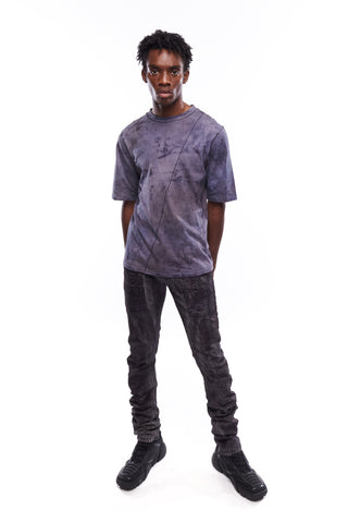 Chaos Scar Tee and Dark Color Stacked Jeans for Men