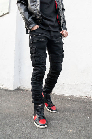 Black stacked jeans outfit ideas for men Saint Laurent Signature Court Classic SL/10H Leather High Top Sneakers