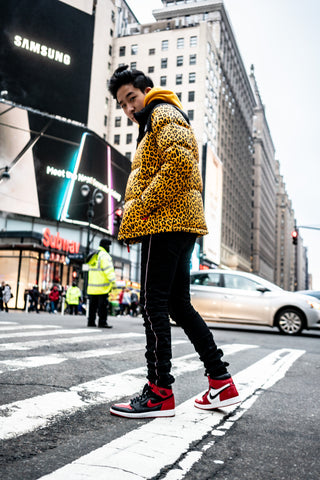 @richboy in THE NORTH FACE X SUPREME 2011 Leopard Nuptse Jacket Puffer Coat and Varick stacked jeans