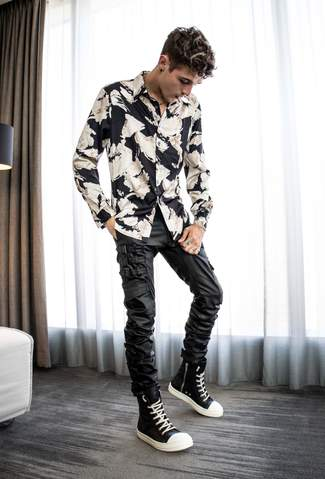 Men's outfit ideas luxury streetwear - floral satin shirt and waxed pants