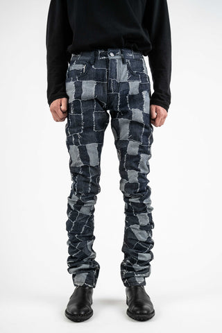 Designer Patchwork Stacked Jeans Men Outfit Ideas