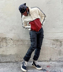 Full-body style stacked pants