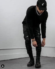 Black stacked pants