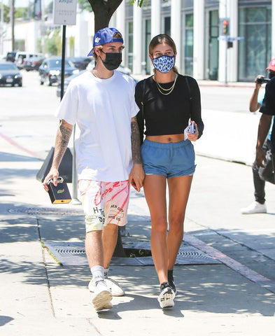 Justin Bieber and Wife Hailey Bieber Out in LA with Disposable AKings Black Face Mask