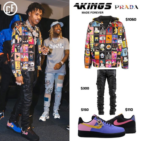 Lil Baby Wears AKings Denim With Prada Jacket and Air Forces