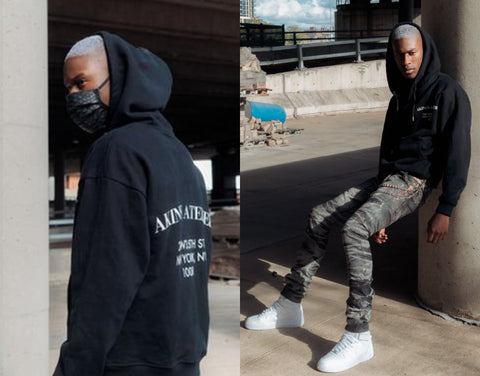 Winter outfit Black Atelier Hoodie, Python leather mask, Jason Stacked Jeans, Triple Pants Chain, and Nike Air Force 1 High Top Sneakers