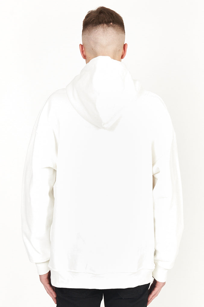 back view of first aid white hoody shown on model