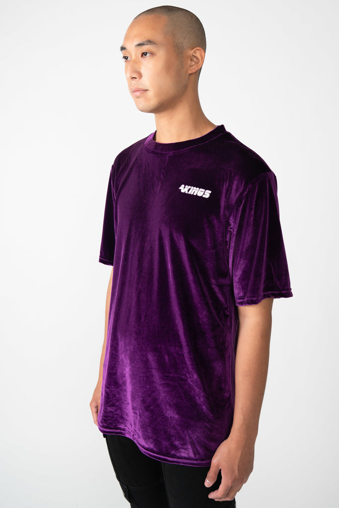 CROSBY PURPLE VELOUR TEE - AKINGS