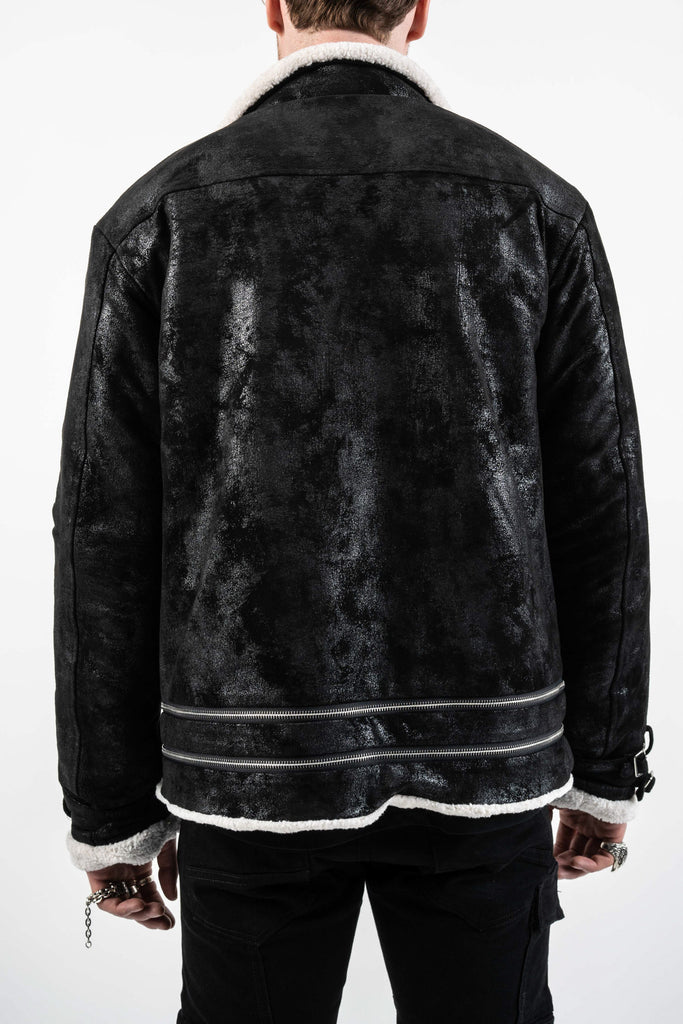 BLISTERED SUEDE SHEARLING JACKET