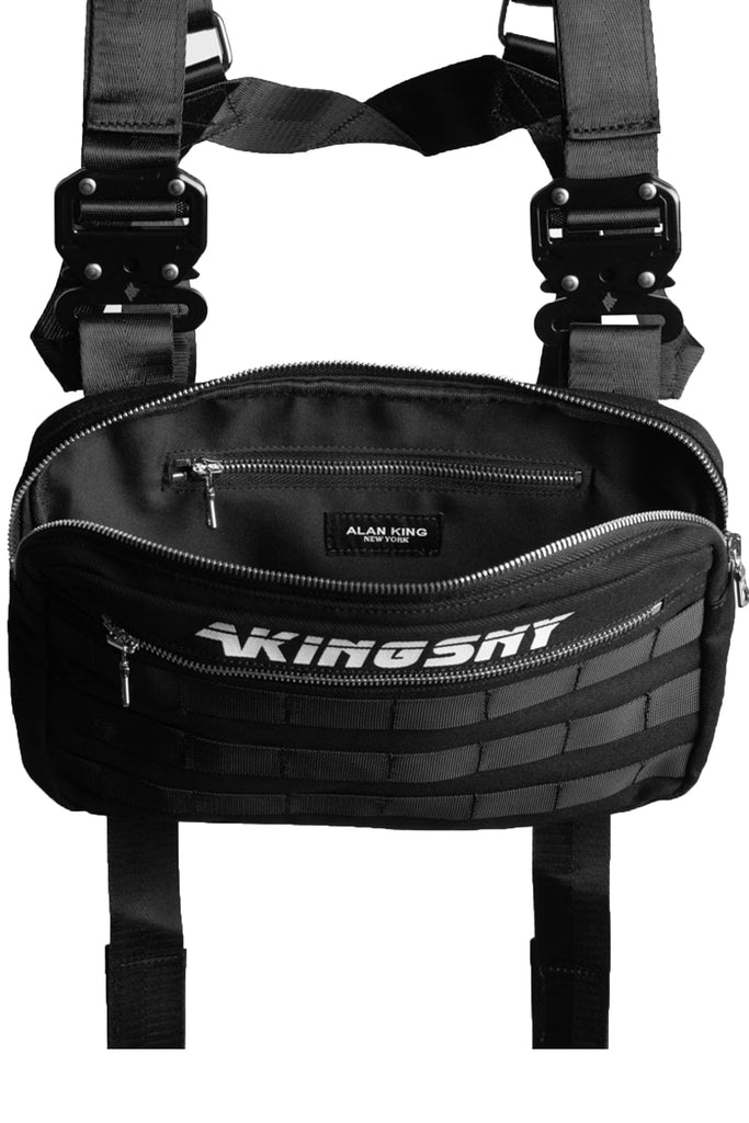 ak01 chest bag unzipped to show the inner compartments of the bag