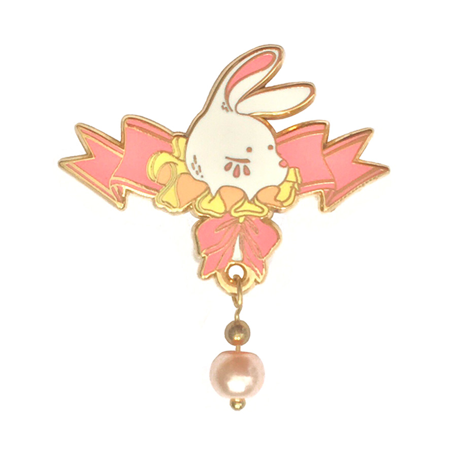 Ribbon Bunny Enamel Pin