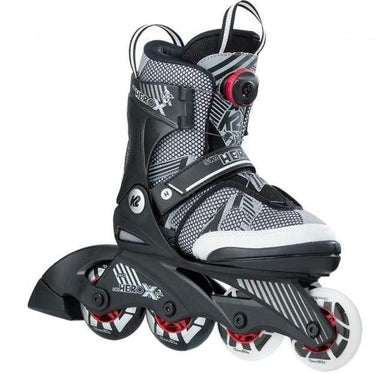 K2 Sk8 Hero X BOA Grey/Red Kids Adjustable Inline Skates - Bladeworx