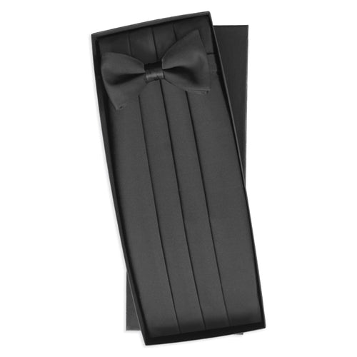 Black Silk Bowtie & Cummerbund Set