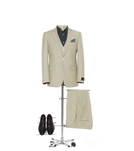 Men's Beige 2 Piece Slim Fit Suit