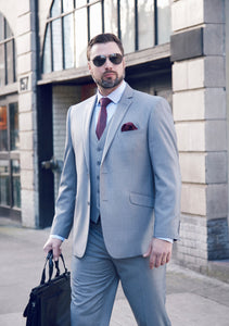 Men's Light Grey 2 Piece Slim Fit Suit