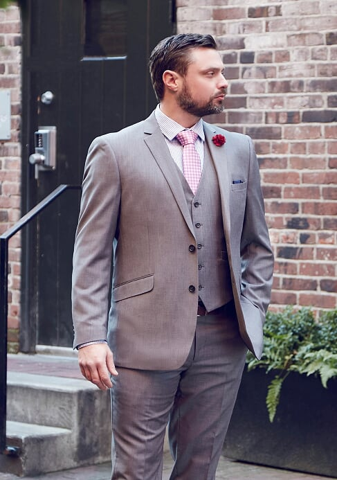 Men's Stone Grey 3 Piece Slim Fit Suit