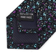 Load image into Gallery viewer, Skinny Black & Purple Floral Tie