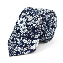 Load image into Gallery viewer, Skinny Navy Floral Tie
