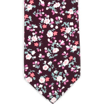 Load image into Gallery viewer, Skinny Wine Floral Tie