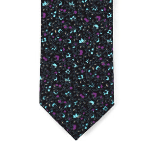 Skinny Black & Purple Floral Tie