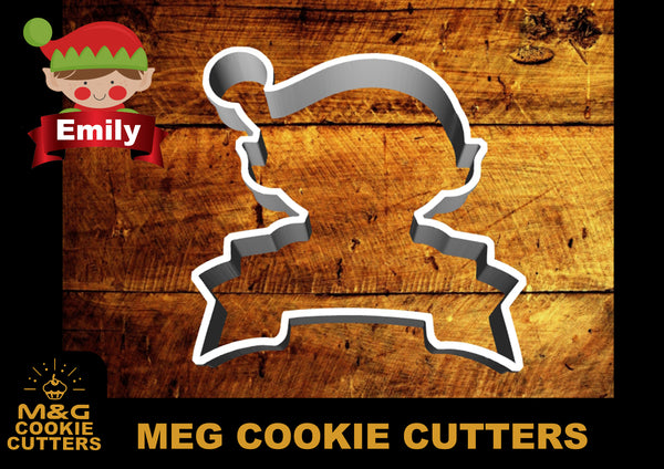 Elf and banner Cookie cutter