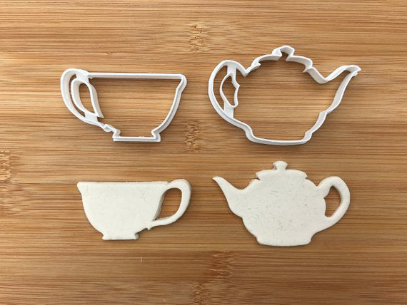 Tea pot set Alice in Wonderland Uk Seller Plastic Biscuit Cookie Cutter Fondant Cake Decor