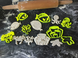 sea animals set Cookie Fondant Cutter Cupcake Cake Decoration Gift Badge