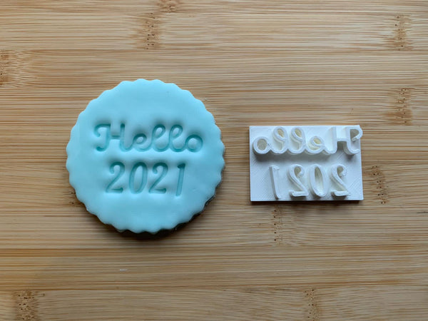 Hello 2021 - Embossing for cupcake and cake - stamps sugar paste