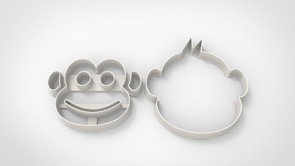 Monkey face animal cookie cutter + stamp