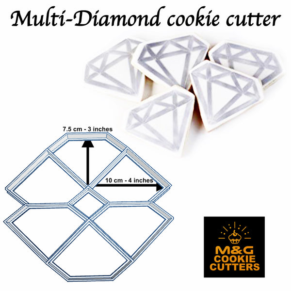 Multi-Diamond cutter Uk Seller Plastic Biscuit Cookie Cutter Fondant Cake Decor