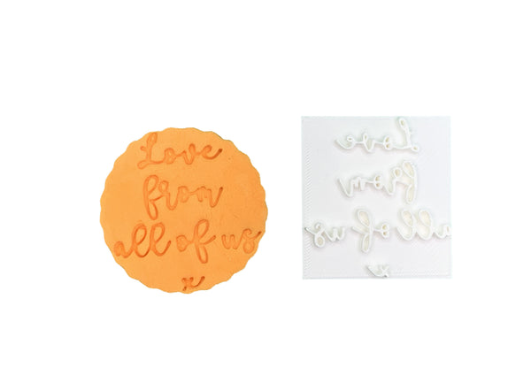 Love from all of us x - Embossing - stamp