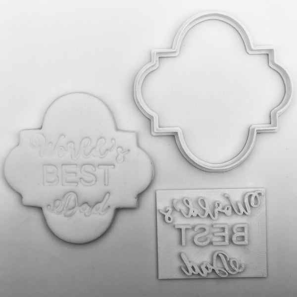 Plaque B + world best dad Embossing for cupcake - Father's Day stamp