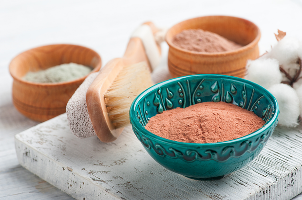 Bowls of Nourishing Pink Clay Face Mask. Gently detoxifies, clears pores & enhances the complexion. Moisturizes dry skin.