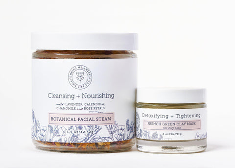 Botanical Steam Facial & Detoxifying Green Clay Face Mask. Great for cleaning & purifying pores and firming the skin.