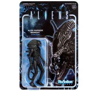 "Super7 Aliens ReAction Alien Warrior A Midnight Black  3.75"" Action Figure"