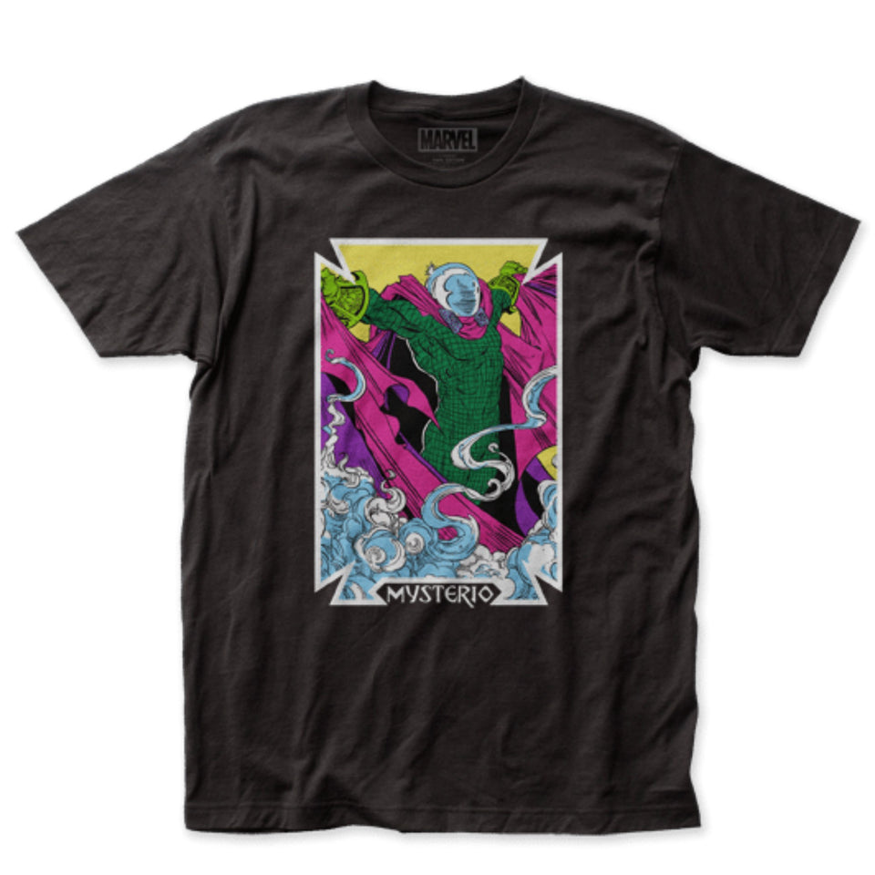 Marvel Comics Mysterio Card Fitted Black T-Shirt