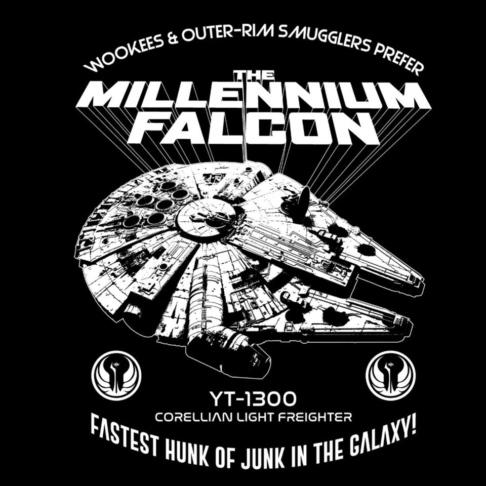 Star Wars Millennium Falcon Fastest Hunk of Junk Black T-Shirt