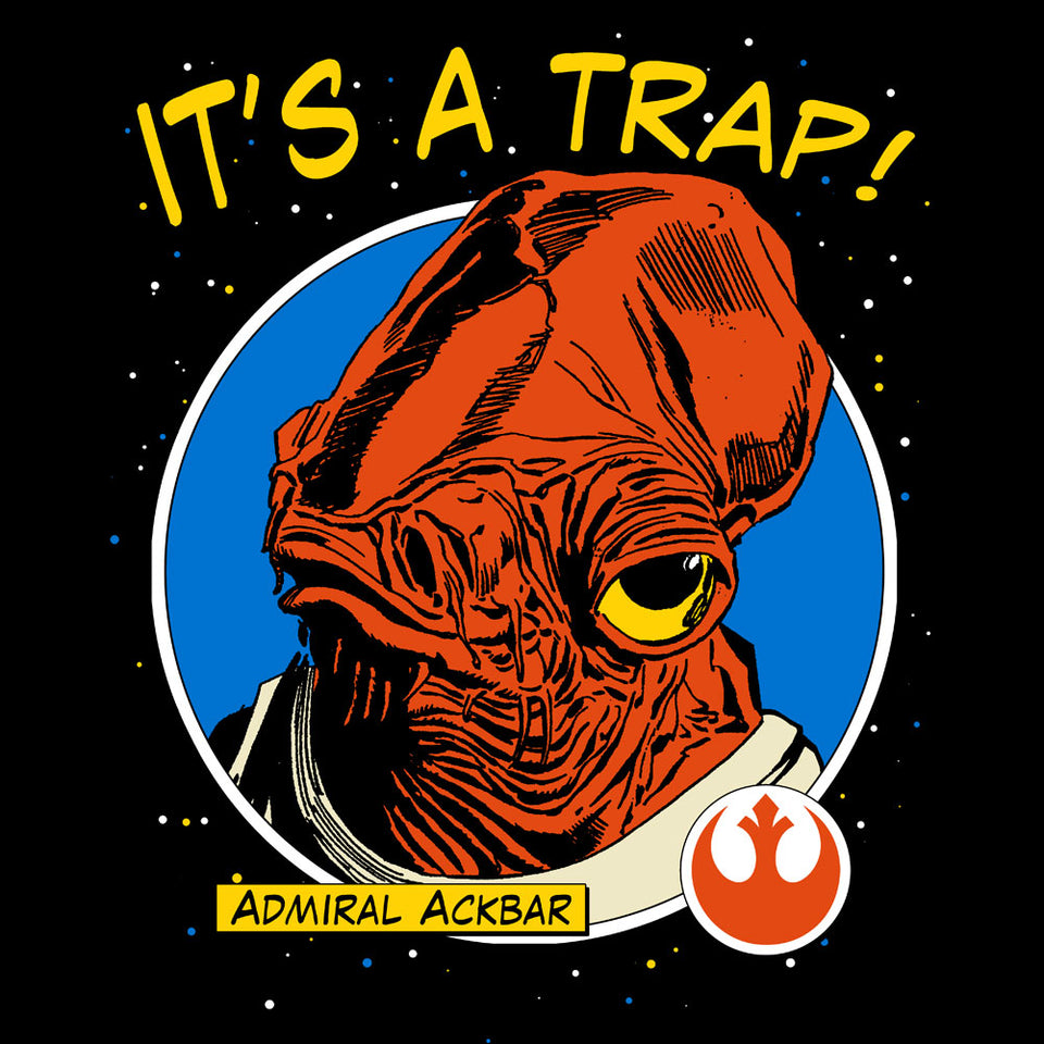 Star Wars Admiral Ackbar It's a Trap Black T-Shirt