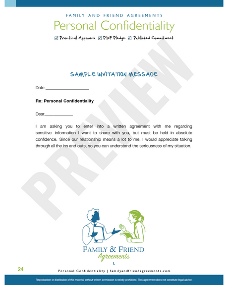 Personal Confidentiality Agreement invitation message preview.
