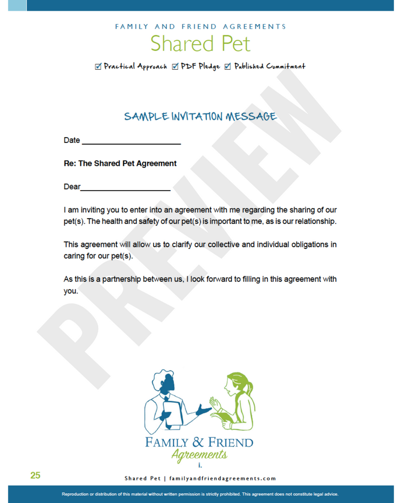 Shared Parenting agreement invitation message preview.
