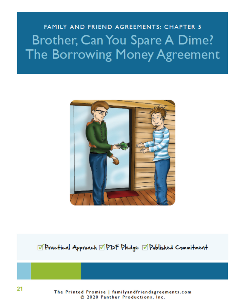 Borrowing Money agreement cover page preview.