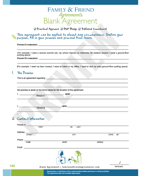 Blank Agreement for any arrangement first page preview.