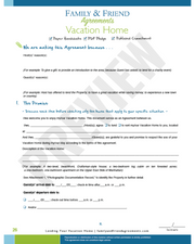 Vacation Home Agreement first page preview.