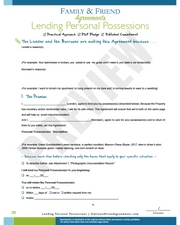 Lending Personal Possessions agreement page one preview.