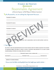 Roommate agreement first page preview.