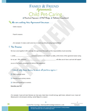 Child Pet Caring agreement first page preview.
