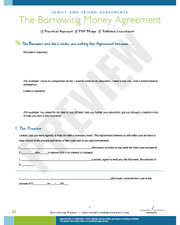 Borrowing Money agreement checklist preview.