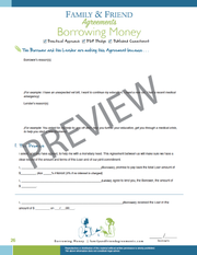 Borrowing Money agreement first page preview.