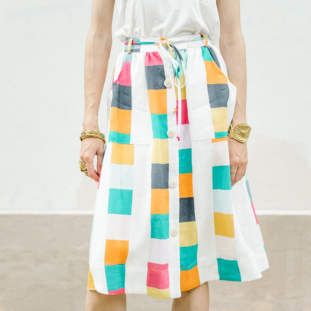 COLOR FESTIVAL LINEN SKIRT